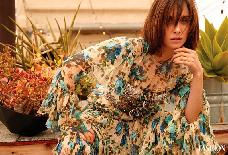 Actress Alison Brie poses in Gucci dress