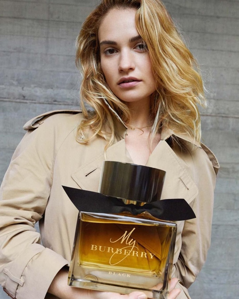 Lily James poses for My Burberry fragrance campaign