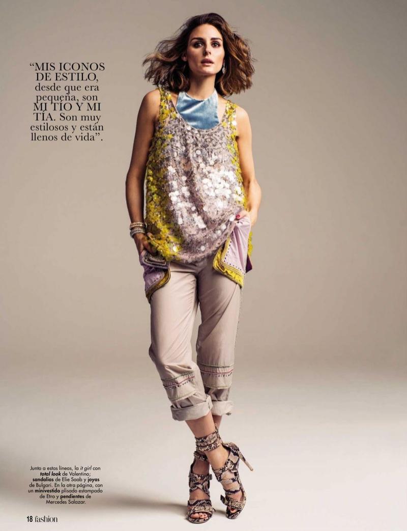 Dressed in Valentino look, Olivia Palermo wears Elie Saab sandals