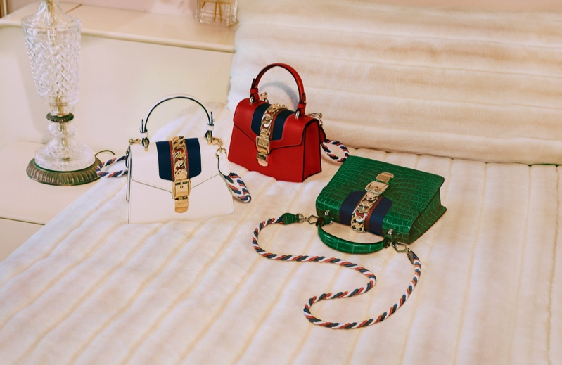 Three different colorways of Gucci Sylvie handbag