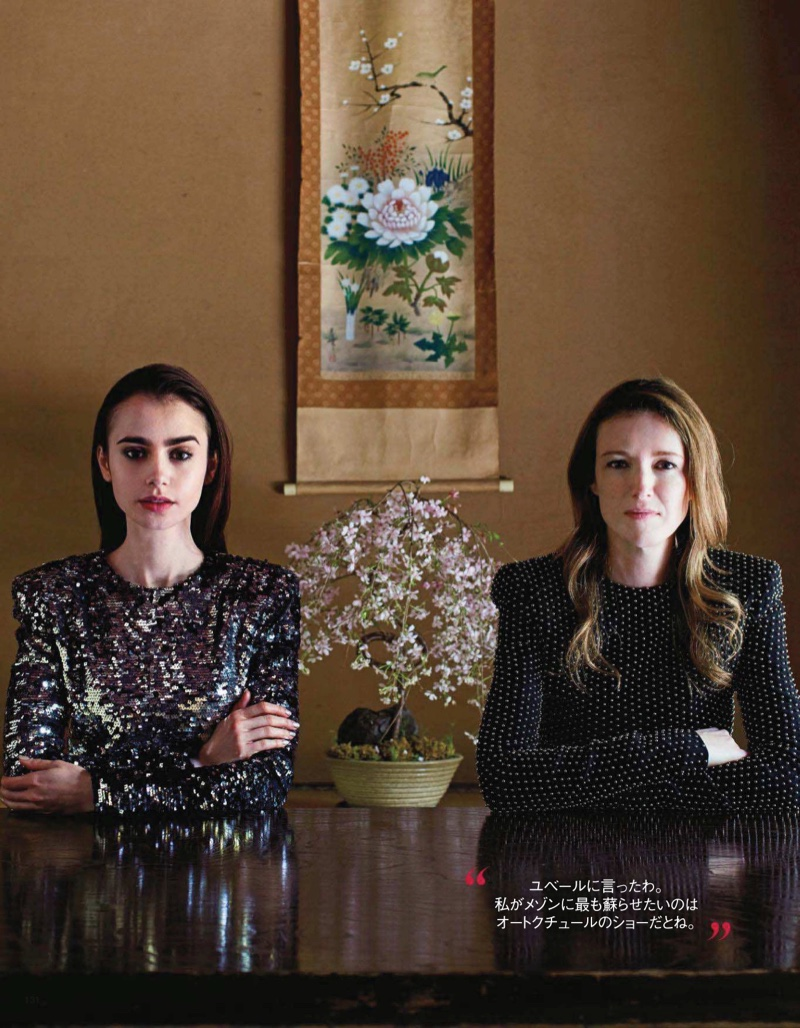 Lily Collins poses with Givenchy designer Clare Waight Keller