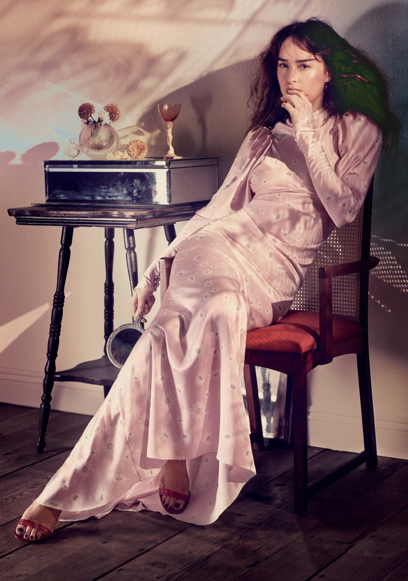 Dakota Johnson wears Paco Rabanne dress and Gucci sandals with Annoushka earrings