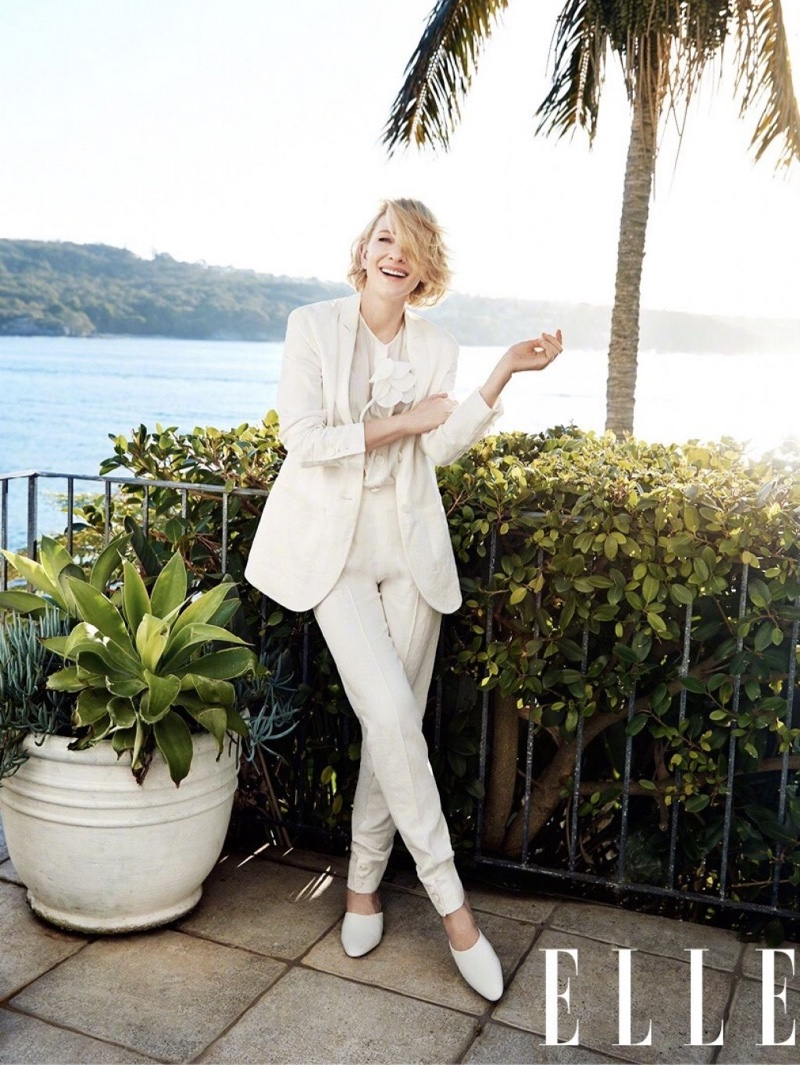 Dressed in white, Cate Blanchett wears Giorgio Armani pantsuit