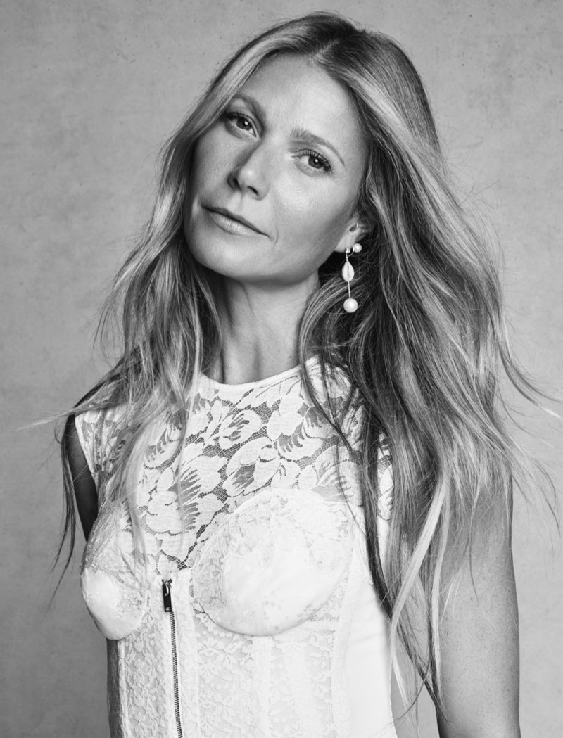 Actress Gwyneth Paltrow wears white lace Stella McCartney dress