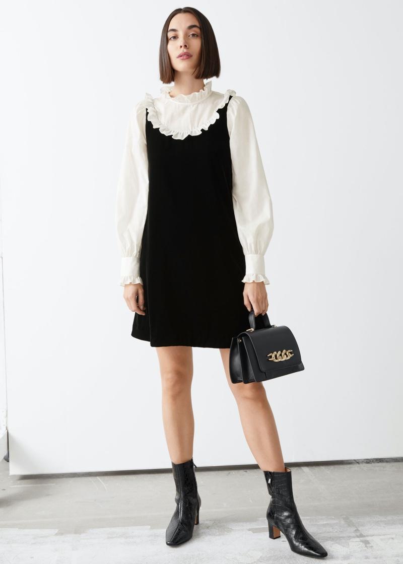 & Other Stories Ruffled Velvet Balloon Sleeve Mini Dress $119