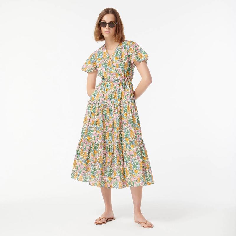 J. Crew Faux-Wrap Dress in Liberty Mini Floral Walk $99.50