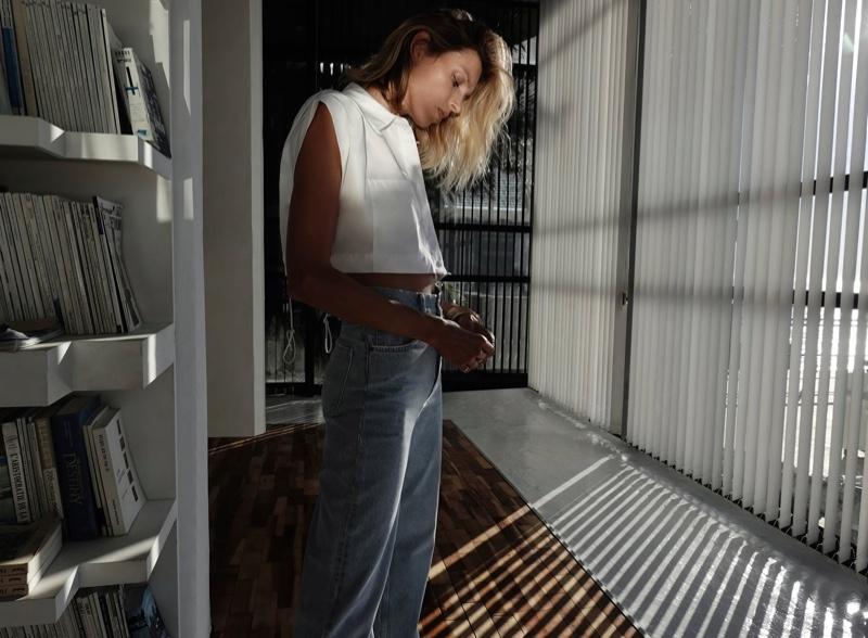 Anja Rubik Stays at Home in Zara's Latest Styles