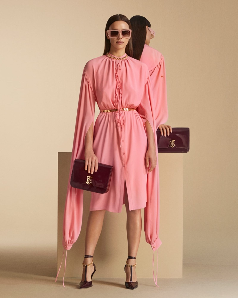 Looking pretty in pink, Irina Shayk fronts Burberry pre-fall 2020 campaign.