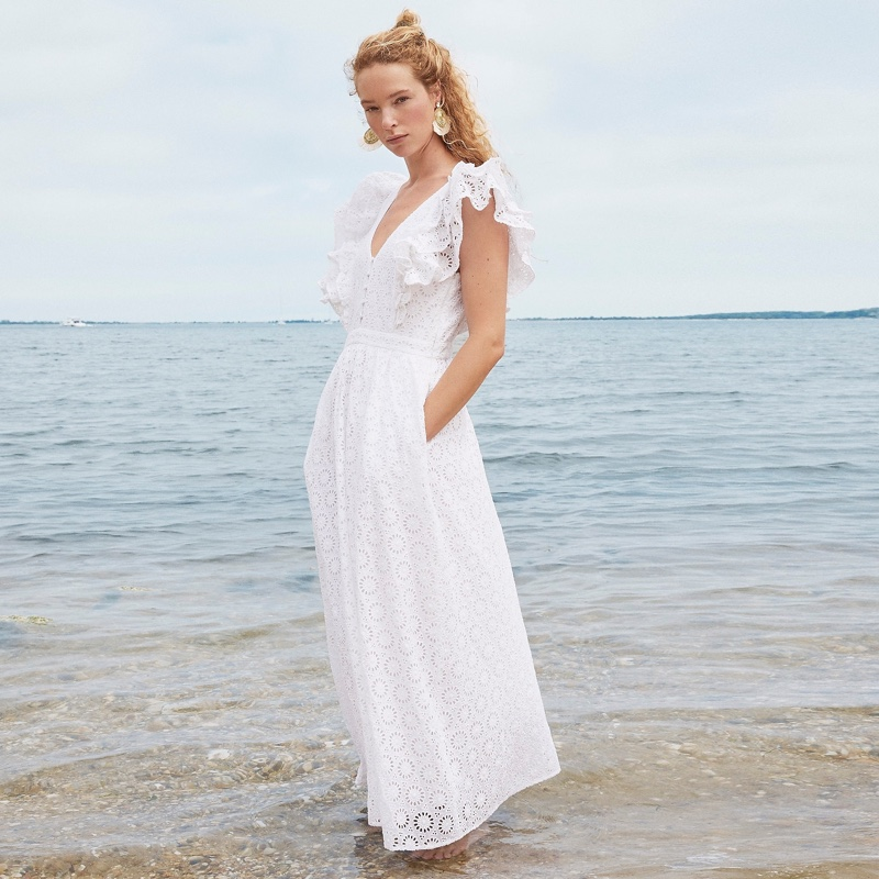 J. Crew Ruffle-Sleeve Eyelet Maxi Dress in White $218