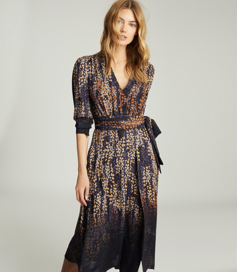 REISS Esther Printed Wrap Front Dress $425