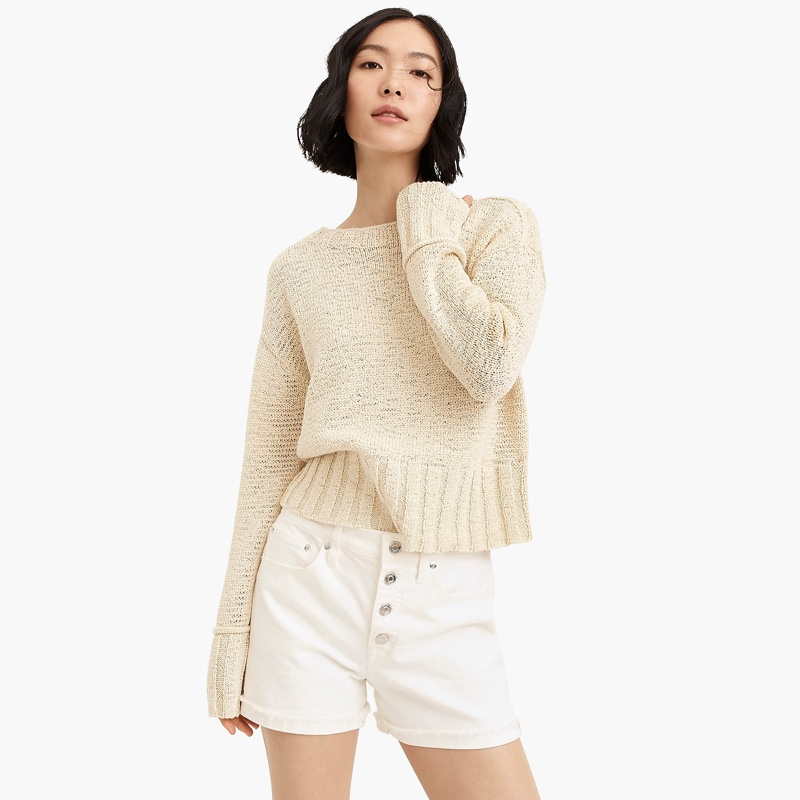 J. Crew Wide-Rib Crewneck Sweater in Natural $69.50