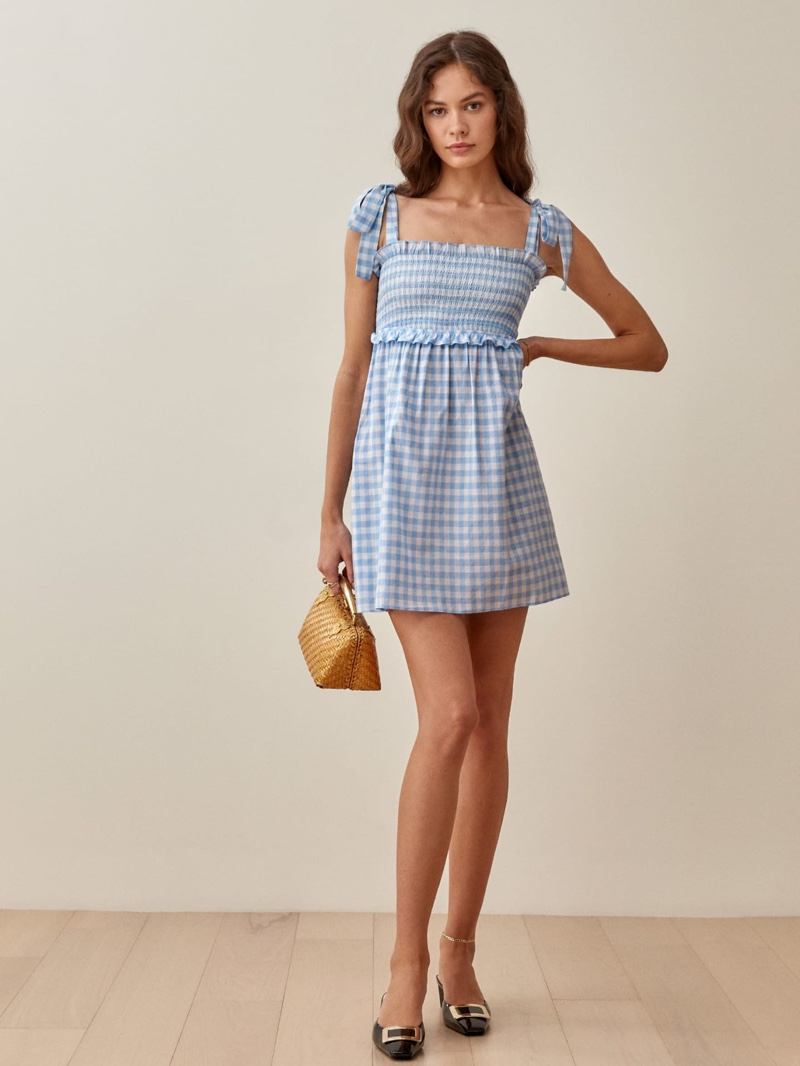 Reformation Dawson Dress in Baby Blue Gingham $198