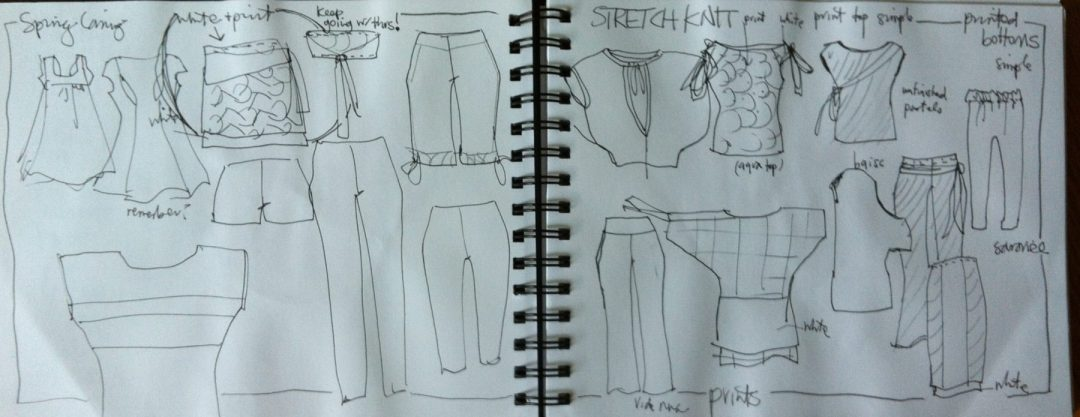 Laura Volpintesta - croquis flats in fashion sketchbook