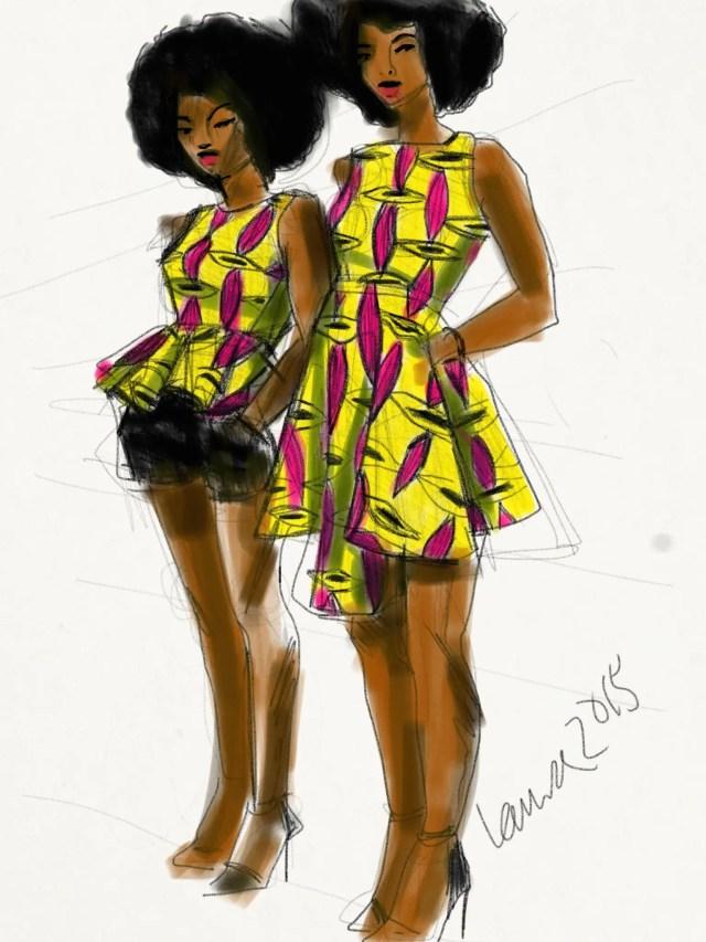Illustration by Laura Volpintesta, Dresses by Natacha Baco