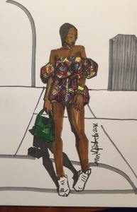 private fashion tutoring Laura Volpintesta, Fashion Illustrator. African Fashion/ African Print fashion design