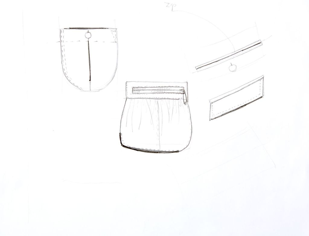 fashion designing with flats- sketching pockets