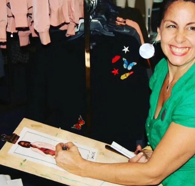 Laura Volpintesta fashion illustrator Live sketch event