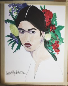 watercolor fashion portrait by Laura Volpintesta