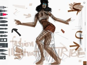 Tayasui Sketches App Fashion Illustration of Naomi Campbell on Brasil Vogue by Laura Volpintesta, fashion illustrator