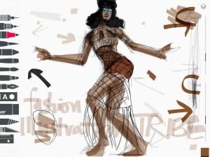 Tayasui Sketches App Fashion Illustration of Naomi Campbell on Brasil Vogue by Laura Volpintesta, fashion illustrator