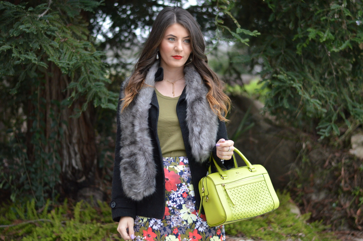 3 STYLE TRICKS TO RELY ON WHEN YOU'RE IN A FASHION FUNK by Fashion in Flight olive green j crew factory dress worn as shirt tank top abercrombie and fitch floral print skater skirt neoprene neon bright green kate spade satchel target fur scarf shawl wrap vintage necklace gold lariat style pearl forever 21 drop earrings black short peacoat catherine malandrino over the knee otk tan boots