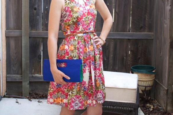STEPFORD by Fashion in Flight MAGGY LONDON floral print DRESS hot pink BCBGENERATION pumps HEELS navy blue envelope clutch colbolt blue electric blue CLUTCH brown tan congnac tortoise detail ANTHROPOLOGIE BELT golden spike layered sheild necklace gold knot earrings bangs ashleigh jean lopes blogger california blogger modesto turlock hughson