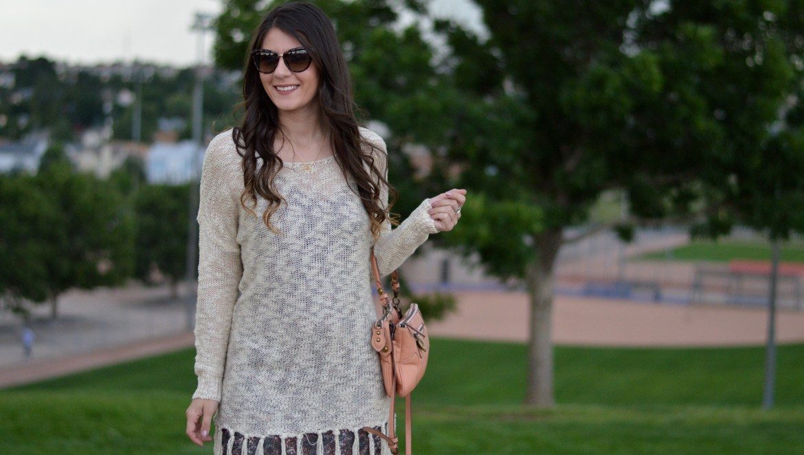 HOW TO TRANSITION YOUR WARDROBE TO FALL by Fashionin Flight colorado denver Colorado springs blogger fringe knite loose knit sweater all about u boutique denair california oatmeal fringe sweater abstract brown print tank cami dress casual lingerie style dress cut out strappy booties michael antonio brown congac booties pink blush pink mellenial pink anna sui cross body bag curly hair brunette kate spade tortoise shell cat eye sunglasses long hair ashleigh jean lopes fashion beauty lifestyle blog blogging ladypreneur style look of the day ootd autumn fashion september august baseball softball feilds street style