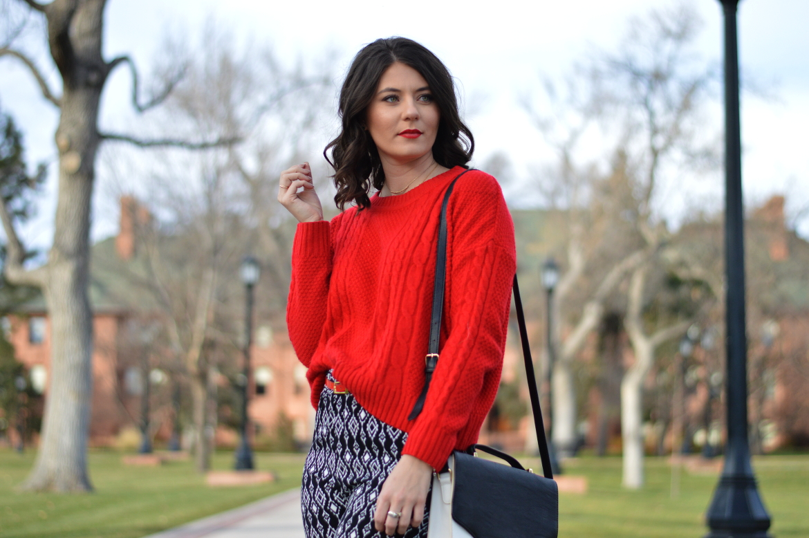 HOW TO WEAR PRINTED PANTS YEAR ROUND by Fashion in Flight red hm sweater black and white glitz boutique turlock geometric printed pants forever 21 monochromatic satchel cross body bag patent red heels short brown hair curly hair fashion beauty lifestyle blog by ashleigh jean lopes colorado springs blogger denver colorado ootd outfit of the day