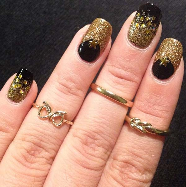 Nail Art Designs For Short Nails Black And White Leaf Theme Aer