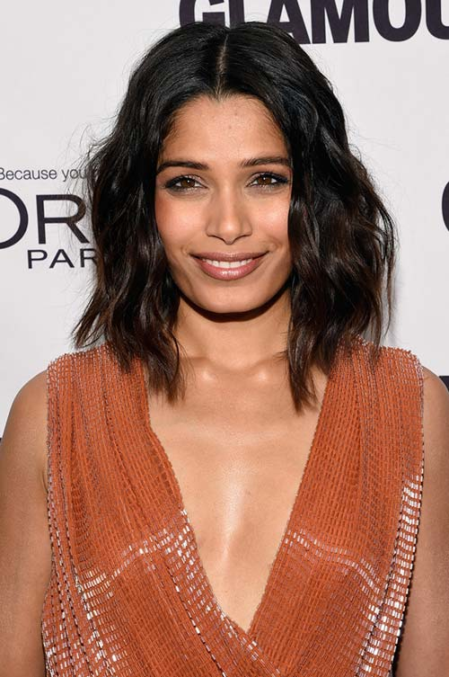 20 Stylish Ways to Wear Center Part Hairstyles: Freida Pinto