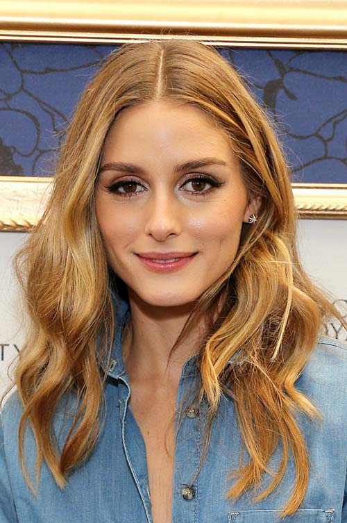 20 Stylish Ways to Wear Center Part Hairstyles: Olivia Palermo