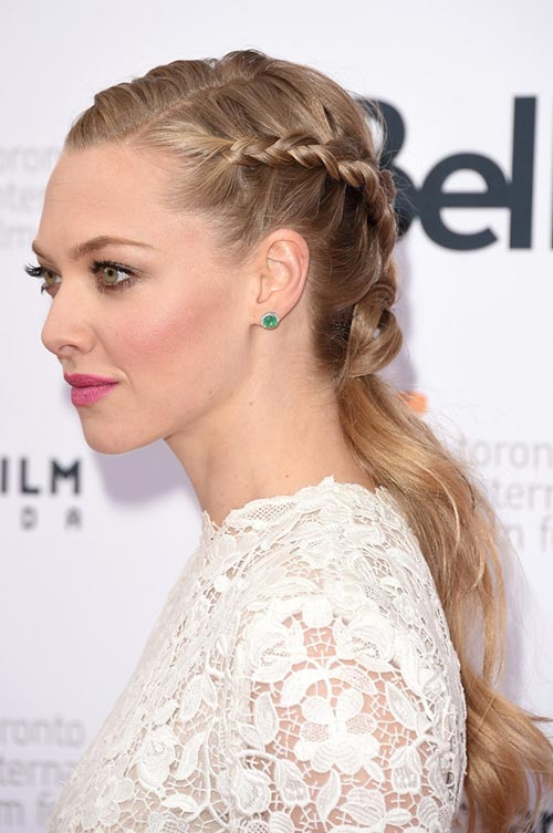 10 Trendy Braided Holiday Hairstyles: Amanda Seyfried Partially Braided Ponytail