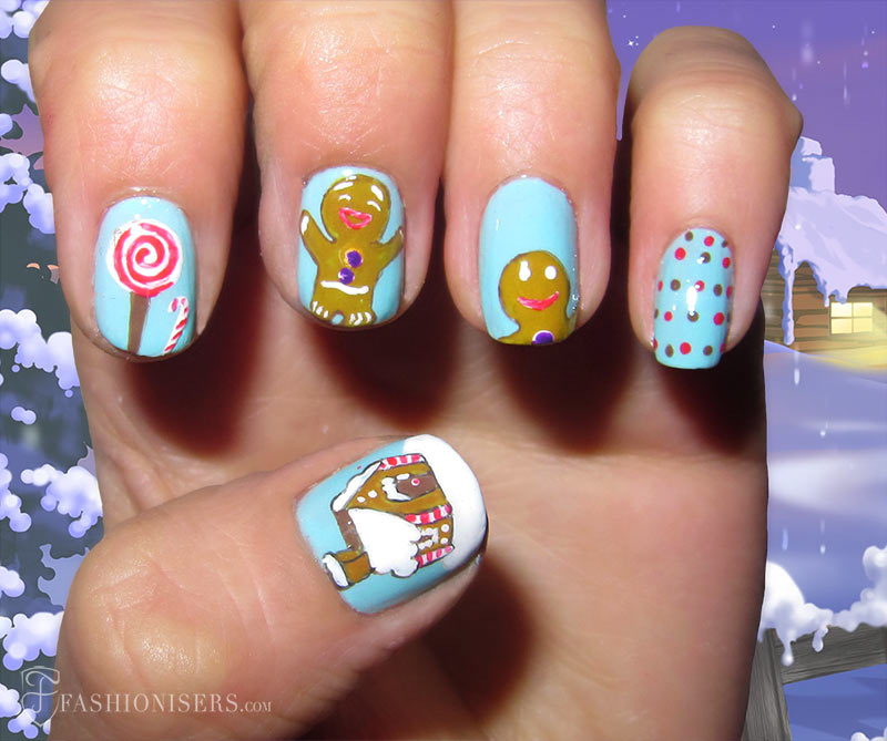 19 Unique Holiday Nail Art Designs: Gingerbread Nails