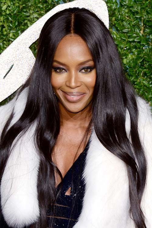 Pretty Holiday Hairstyles to Meet 2015 In Style: Center Part Hair - Naomi Campbell