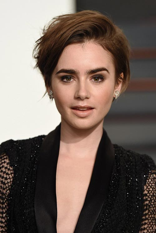 Short Hairstyle Ideas: Lily Collins Messy Short Hair