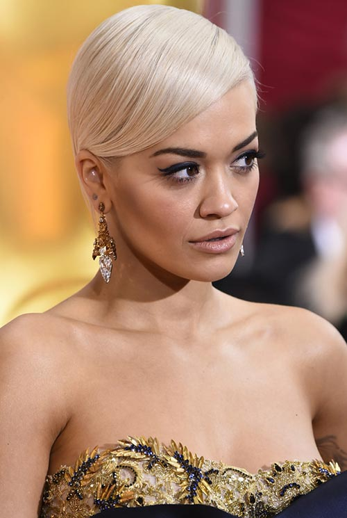 Short Hairstyle Ideas: Rita Ora Side-Parted Sleek Hair