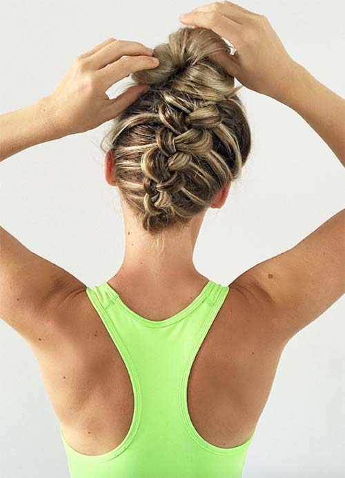 Upside Down Dutch Braid with Top Knot