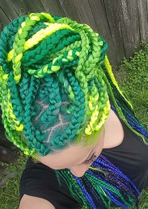 Awesome Box Braids Hairstyles: Green Box Braids
