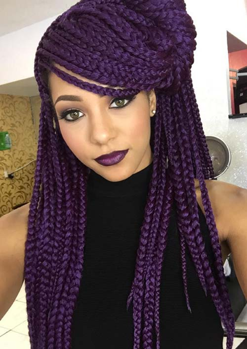 Awesome Box Braids Hairstyles: Side Part Purple Box Braids