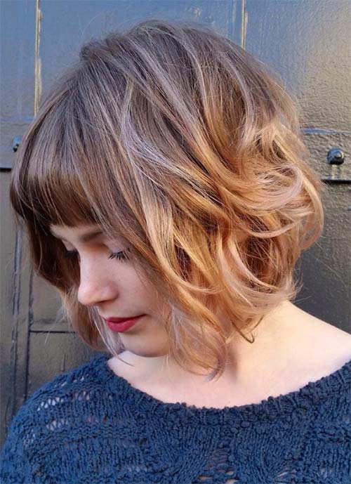 Short Hairstyles for Women: Wavy Bob with Straight Bangs