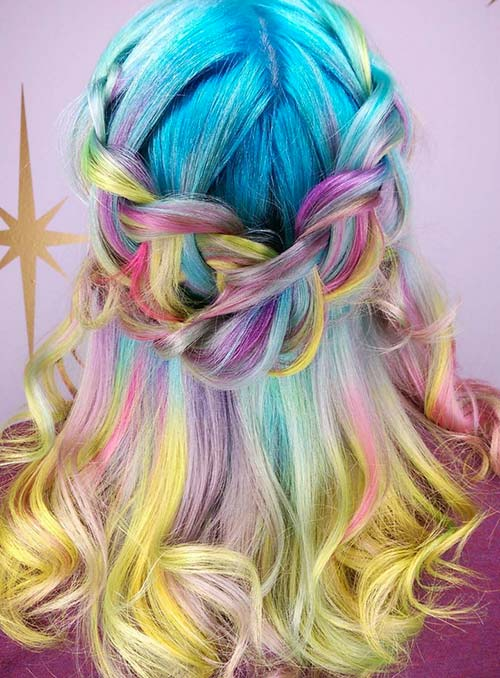 Pastel and Neon Hair Colors in Balayage and Ombre: Pastel Balayage Rainbow Hair