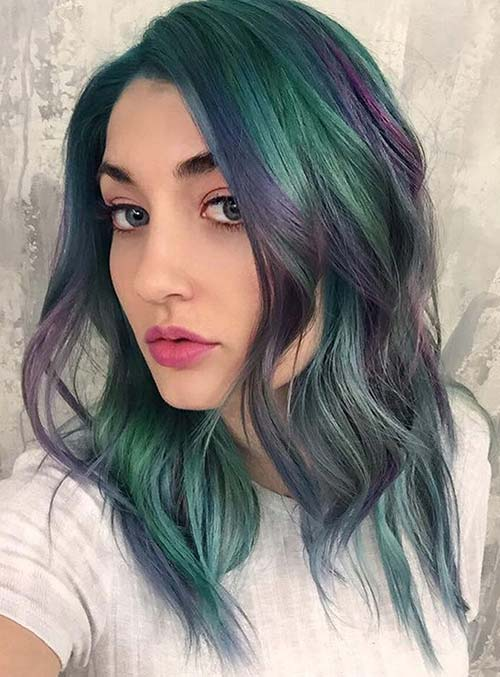 Pastel and Neon Hair Colors in Balayage and Ombre: Amethyst Hair