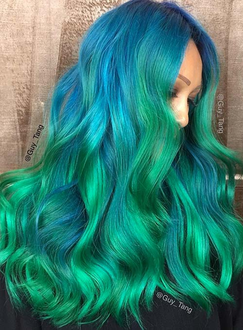 Pastel and Neon Hair Colors in Balayage and Ombre: Green Hair
