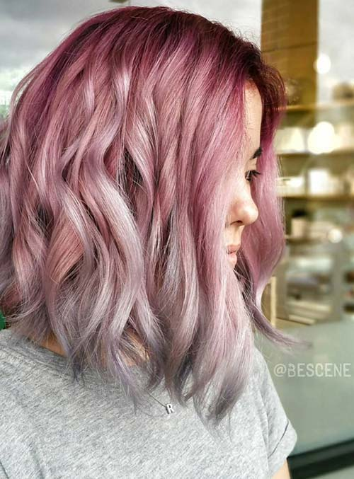 Pastel and Neon Hair Colors in Balayage and Ombre: Rose Gold Ombre Hair