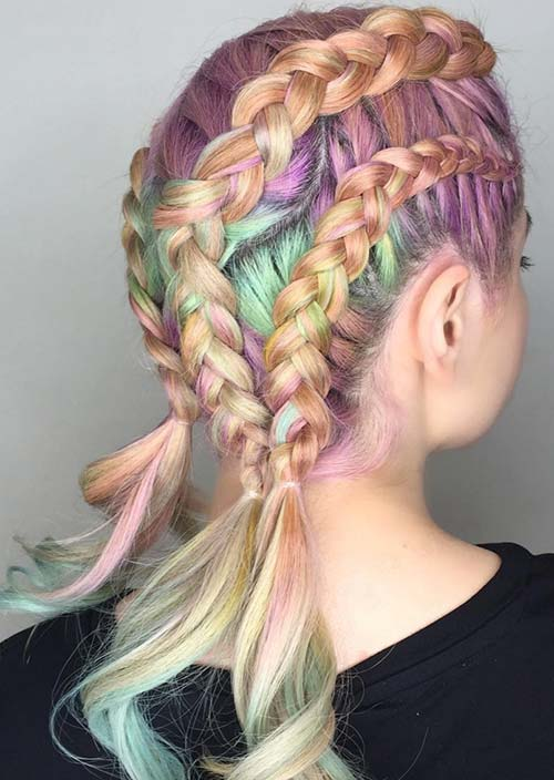 100 Trendy Long Hairstyles for Women: Pastel Triple Braid