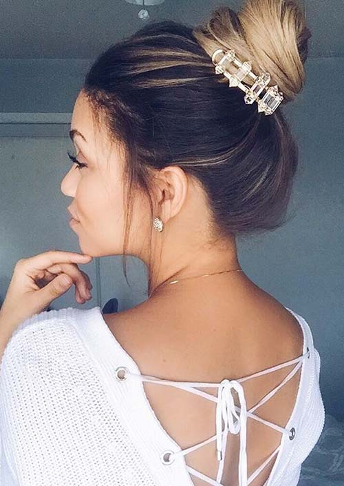 100 Trendy Long Hairstyles for Women: Loose Ballerina Bun