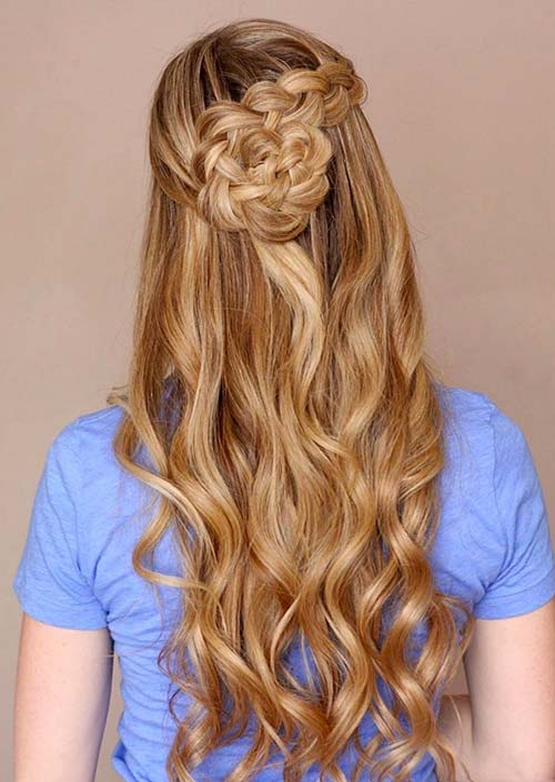 100 Trendy Long Hairstyles for Women: Half Up Braided Knot