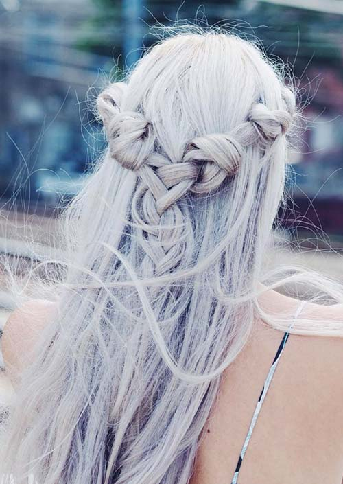 100 Trendy Long Hairstyles for Women: Knot-Braided Half Updo