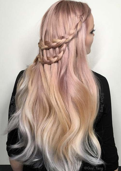 100 Trendy Long Hairstyles for Women: Loose Braided Half Up Hair