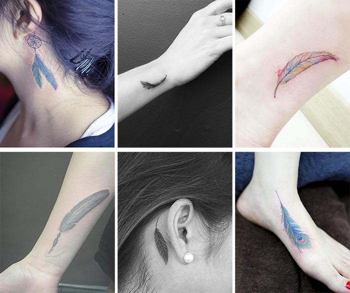 Cute Small Tattoos For Girls With Their Meanings: Tiny Feather Tattoos